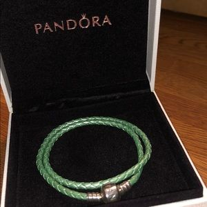Pandora Braided Double-Leather Charm Bracelet